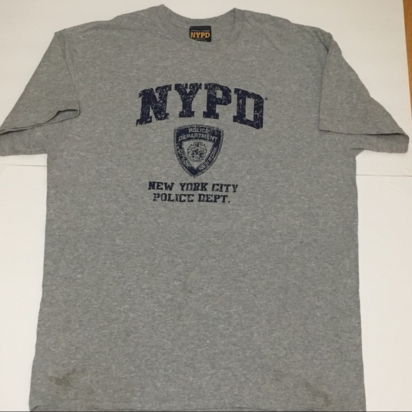 OFFICIAL NYPD T SHIRT GRAY NEW YORK CITY POLICE LARGE